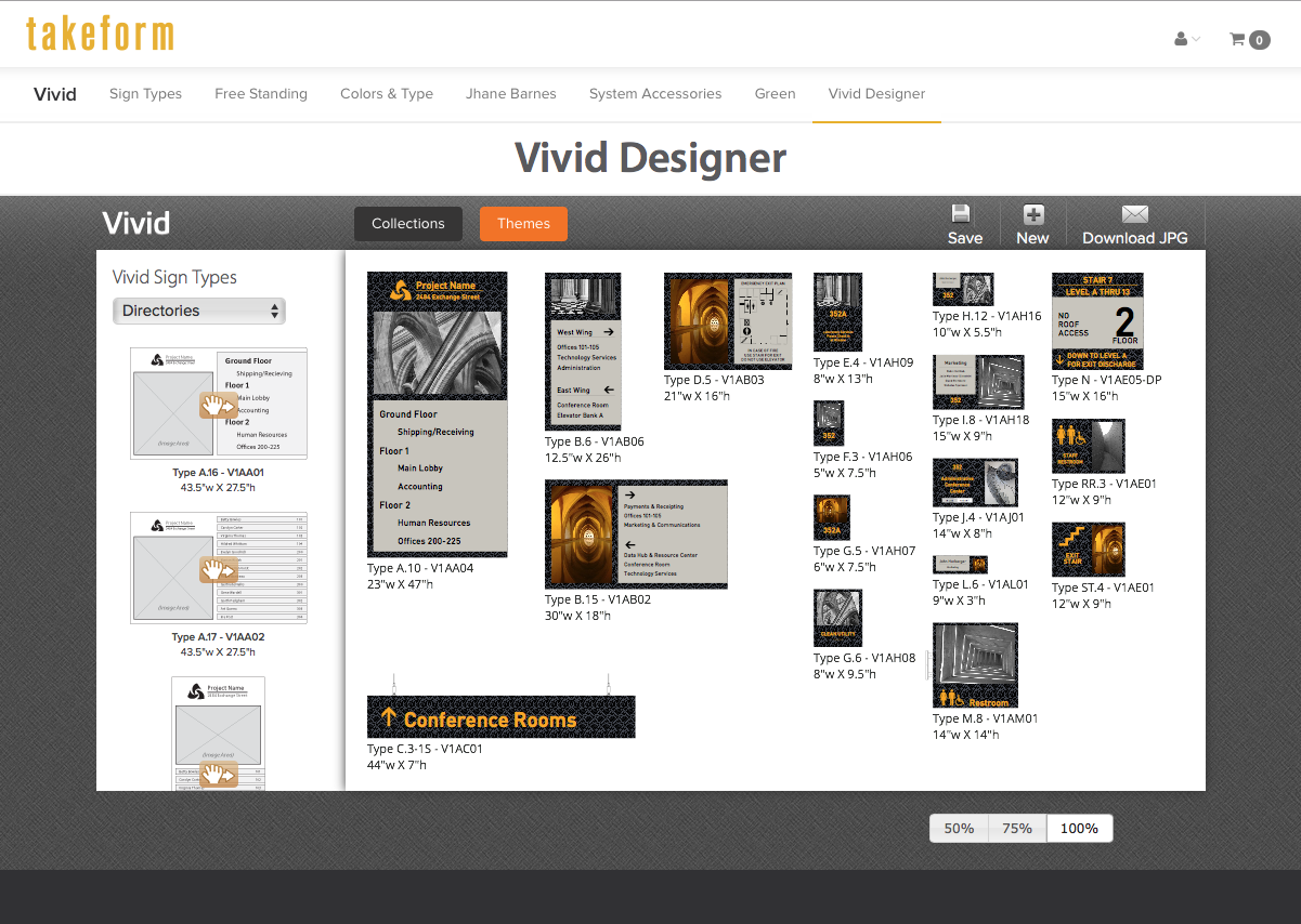 "Image of Takeform's vivd design center featuring the ""interior spaces"" design theme."