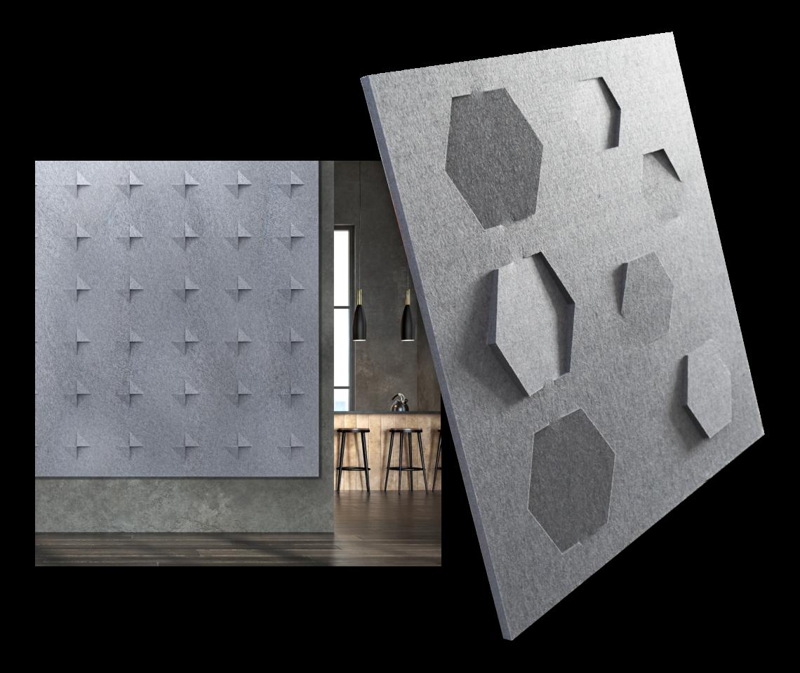 Gray Oomph panels with push-thru patterns