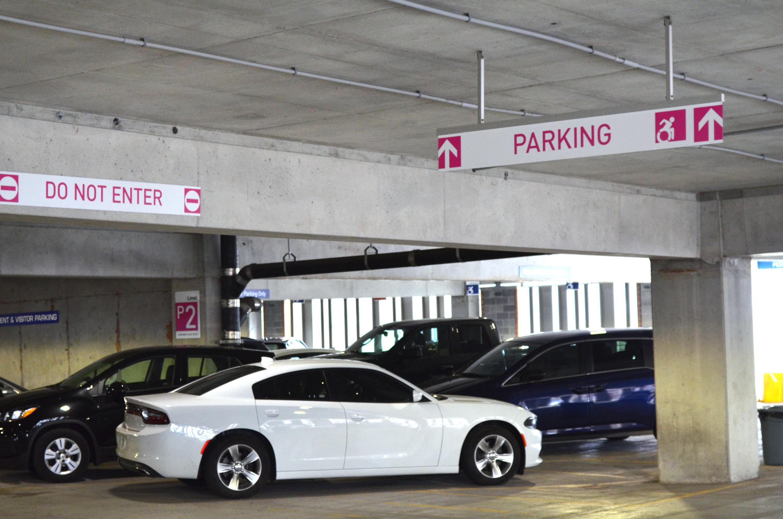 Photo of Transit signage in parking garage
