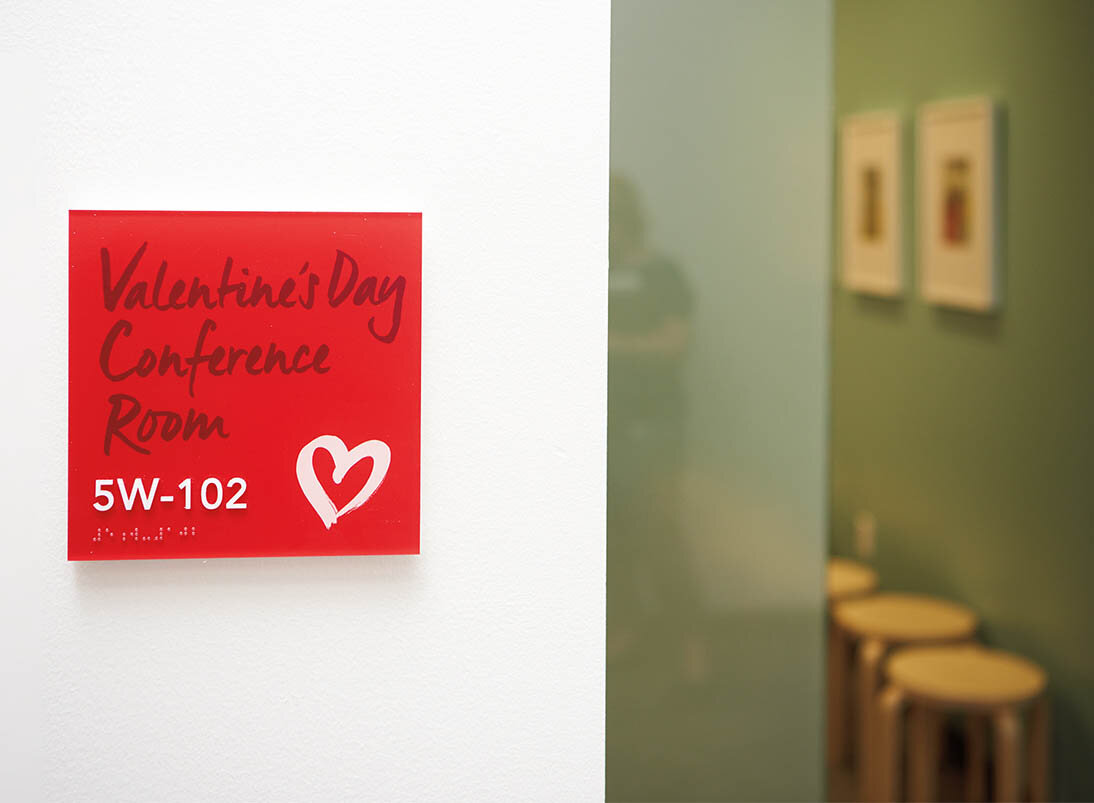 Red square conference room sign