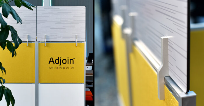 Adjoin panels system with printed graphics on workstation end wings