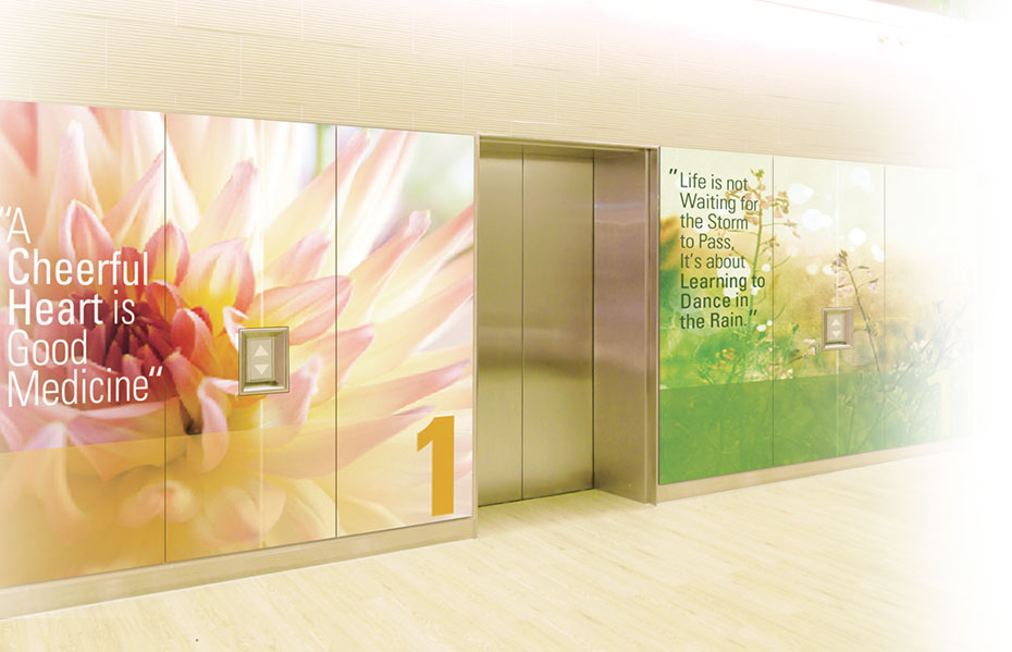 Elevator wall panel with nature scene
