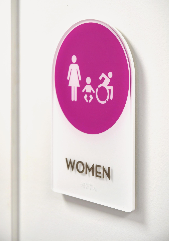 Vivid restroom sign