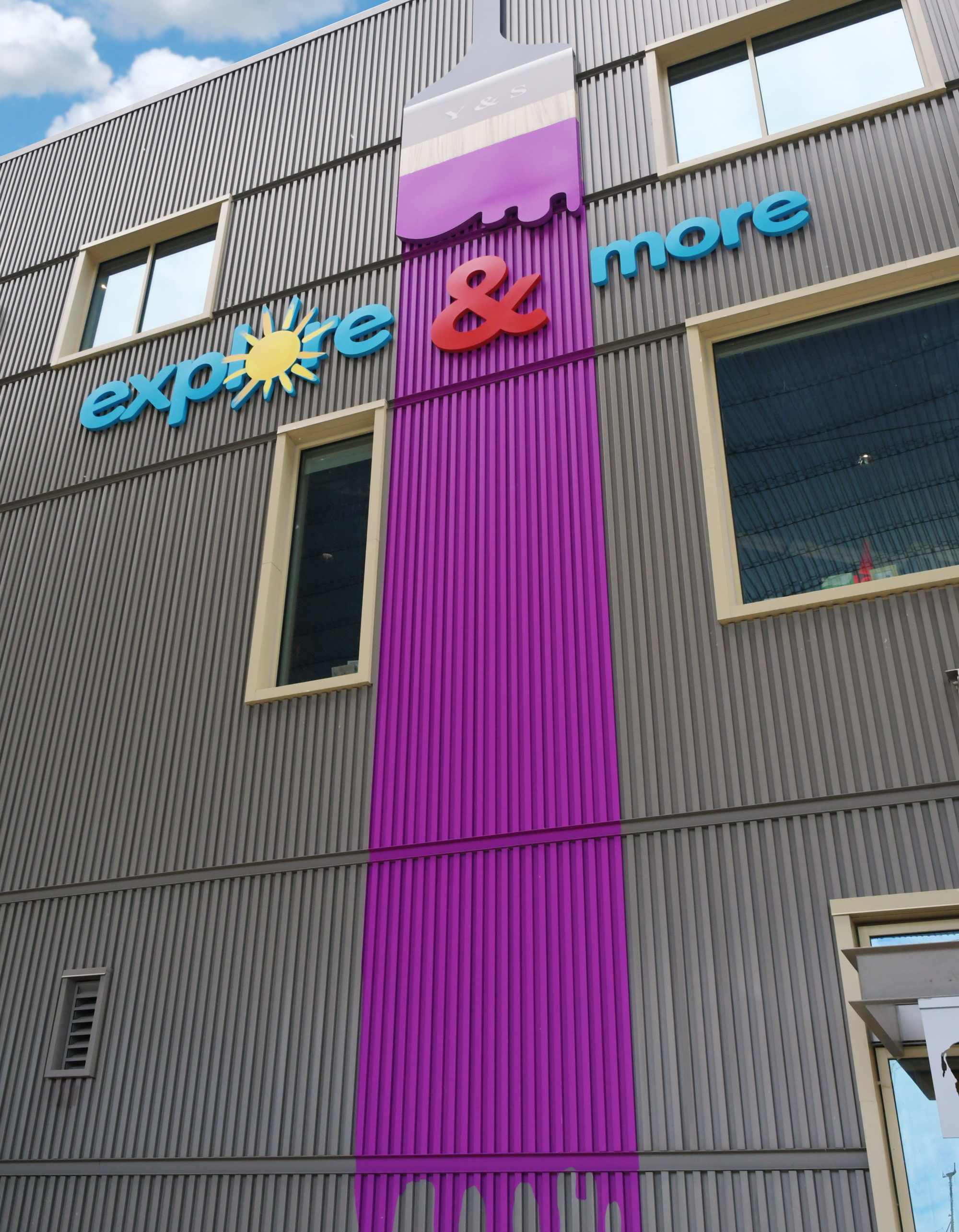 Exterior signage included dimensional graphics