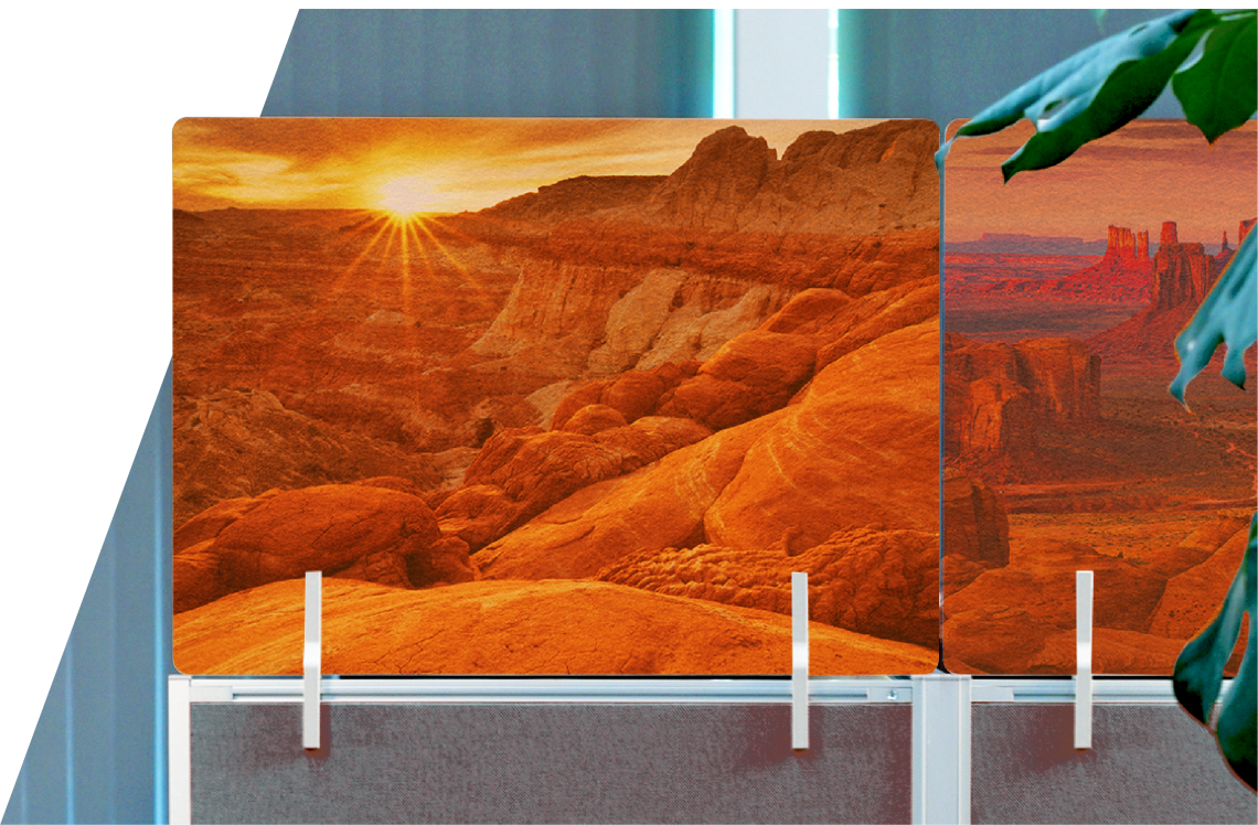 Oomph acoustic panel stacker on office desk with grand canyon printed on the face