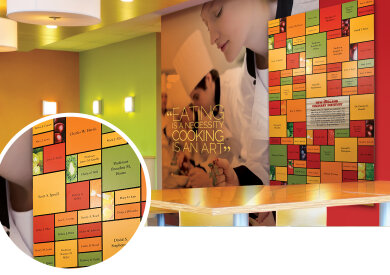 Applaud product donor wall at culinary institute