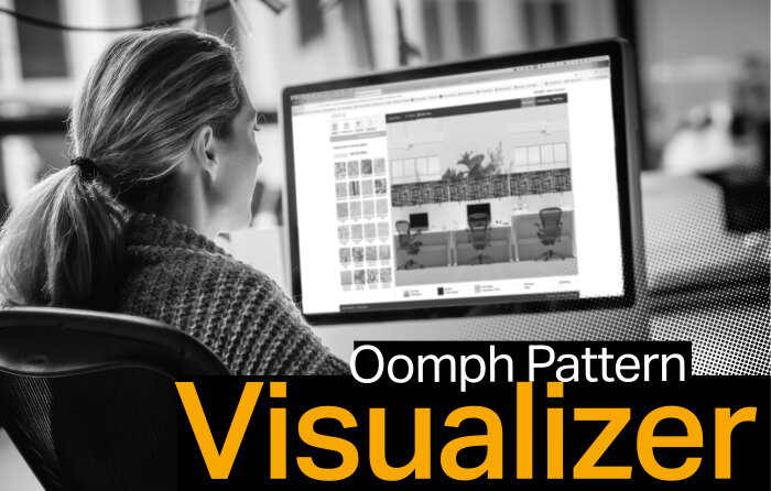 Designer working with the Oomph Pattern Visualizer to select print and dimensional patterns for Oomph acoustic products