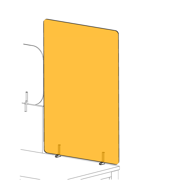 Line-drawing of adapter mounted desktop partition