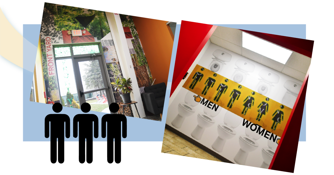 Areas of playful messaging around Takeform's headquarters