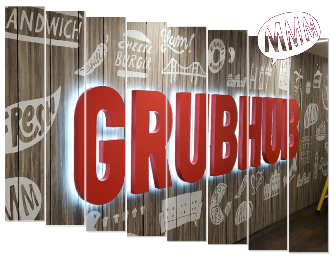 """Dimensional letters reading """"grubhub"""" with halo-lighting"""