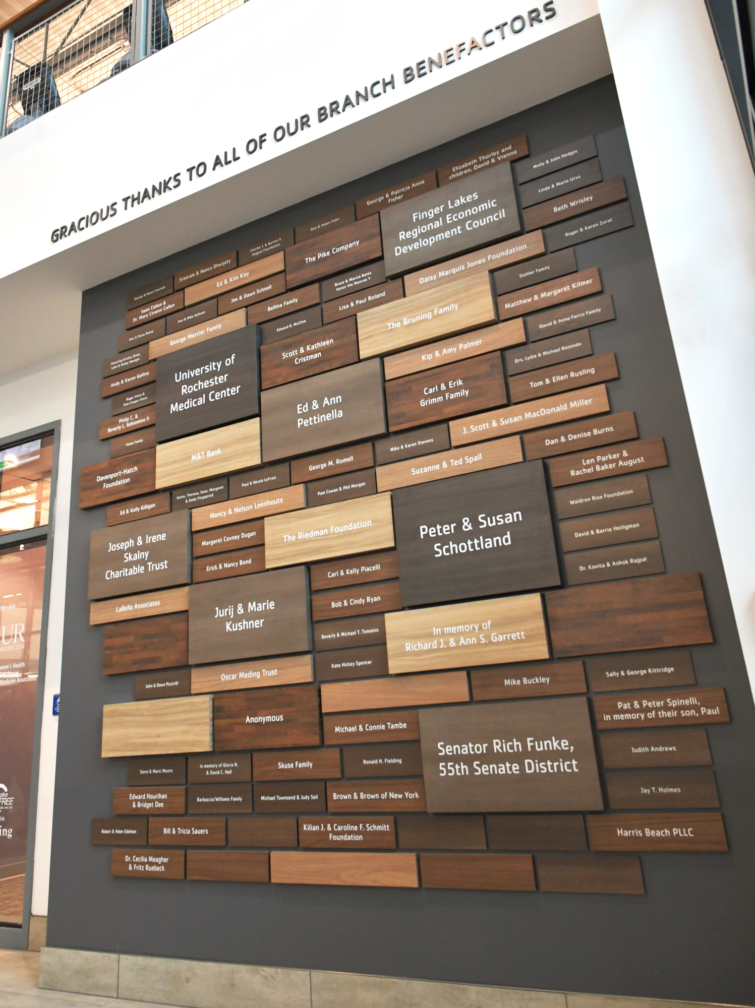Applaud donor wall at YMCA