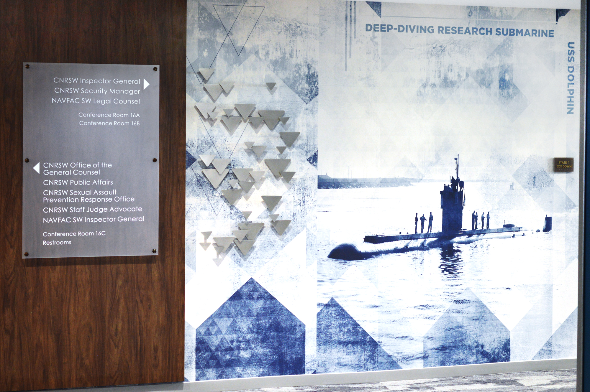 Amplify wall covering at Navy headquarters San Diego