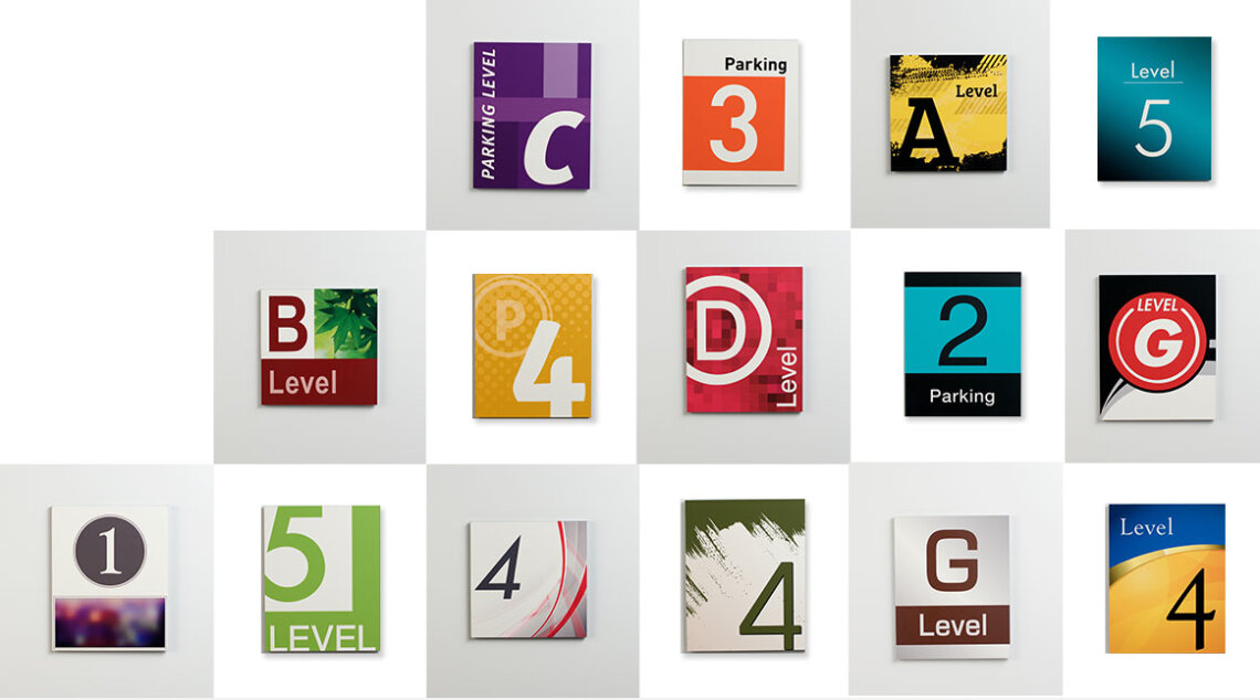 Parking garage graphic collections from Takeform