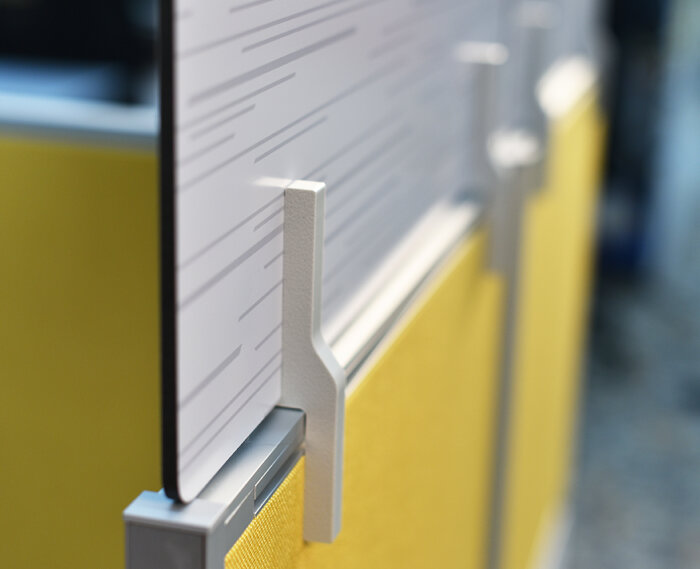 Detail of Aluminum Composite Material (ACM) for protective partitions