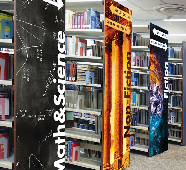 Digital printed book rack end-cap sign