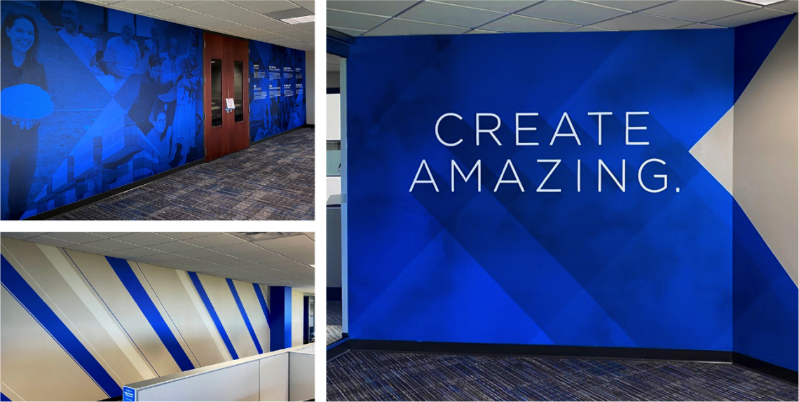"""Bright blue experiential wall graphics with big message that reads """"Create Amazing"""""""