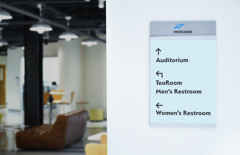 Photo of Vivid wayfinding signage at Nextcorps