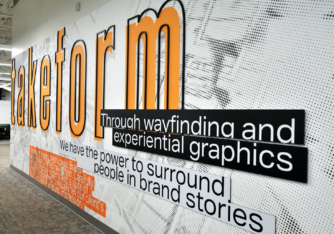 Welcome wall at Takeform's headquarters