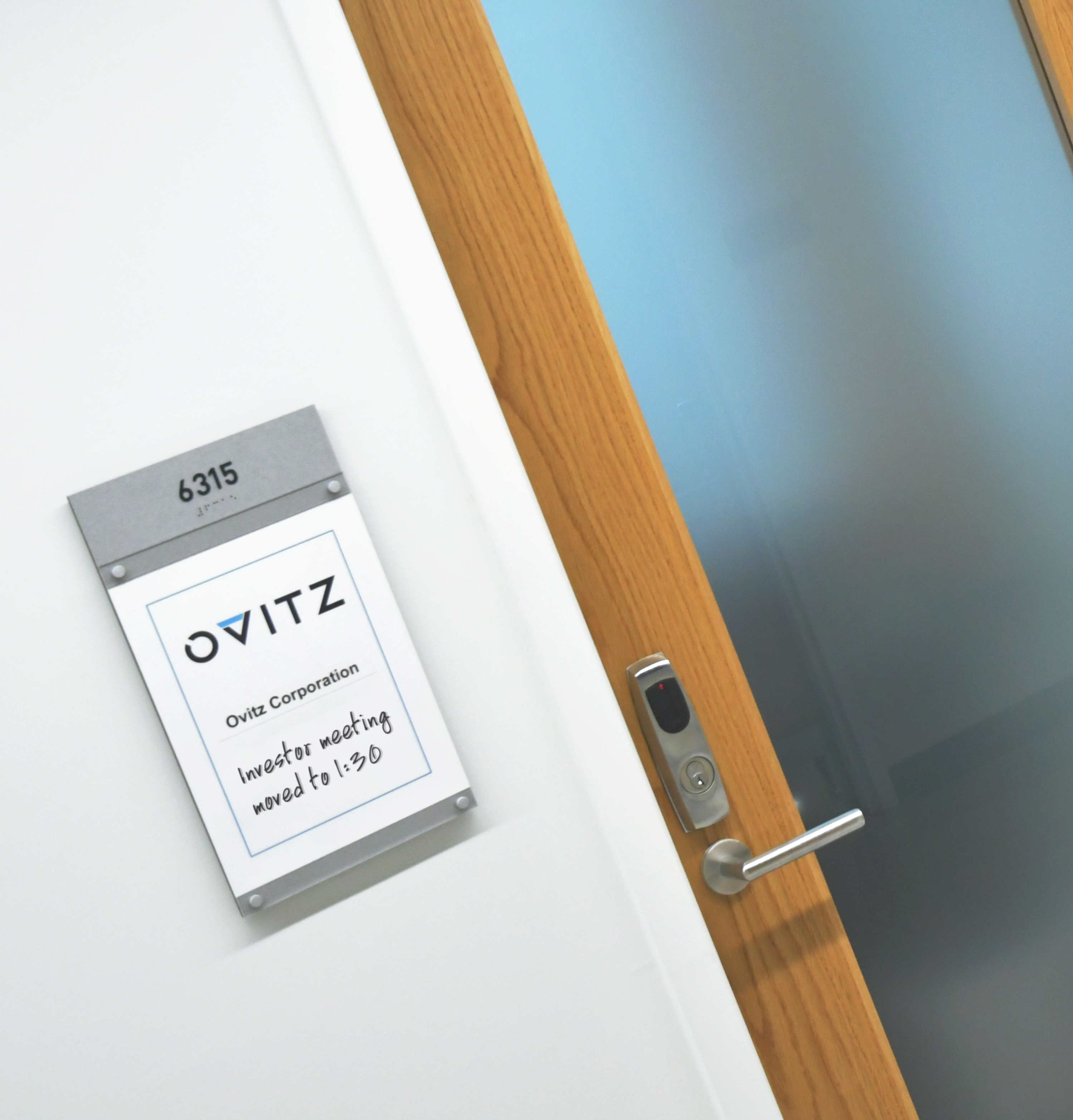 Photo of updateable room ID sign at Nextcorps