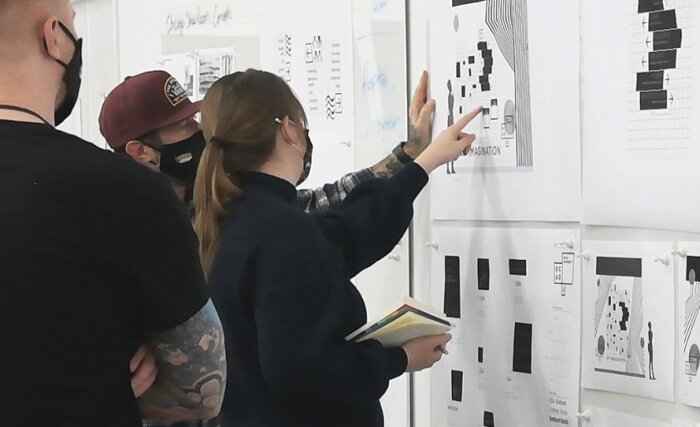 Takeform design team working on showroom concepts for NeoCon 2021