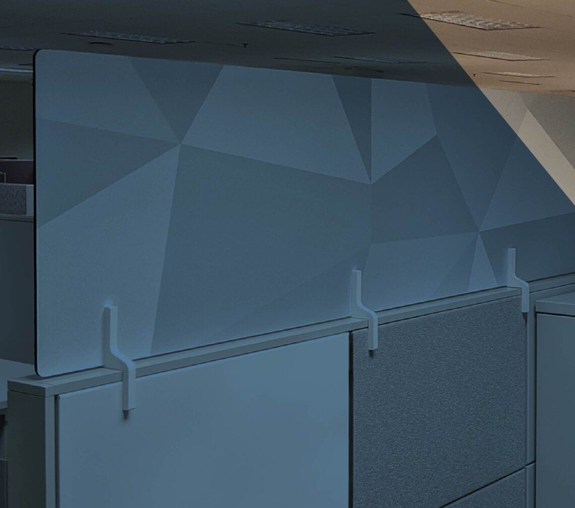 Modern office cubicle with geometric printed pattern
