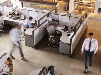 Return back-to-work solutions feature image of contemporary interior office space