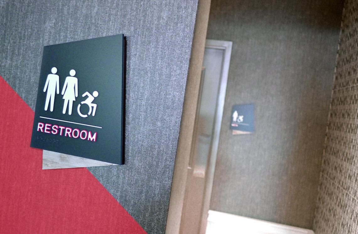 Custom Restroom sign for Aloft hotel