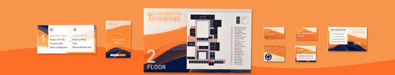 University signage family, Vivid interior signage