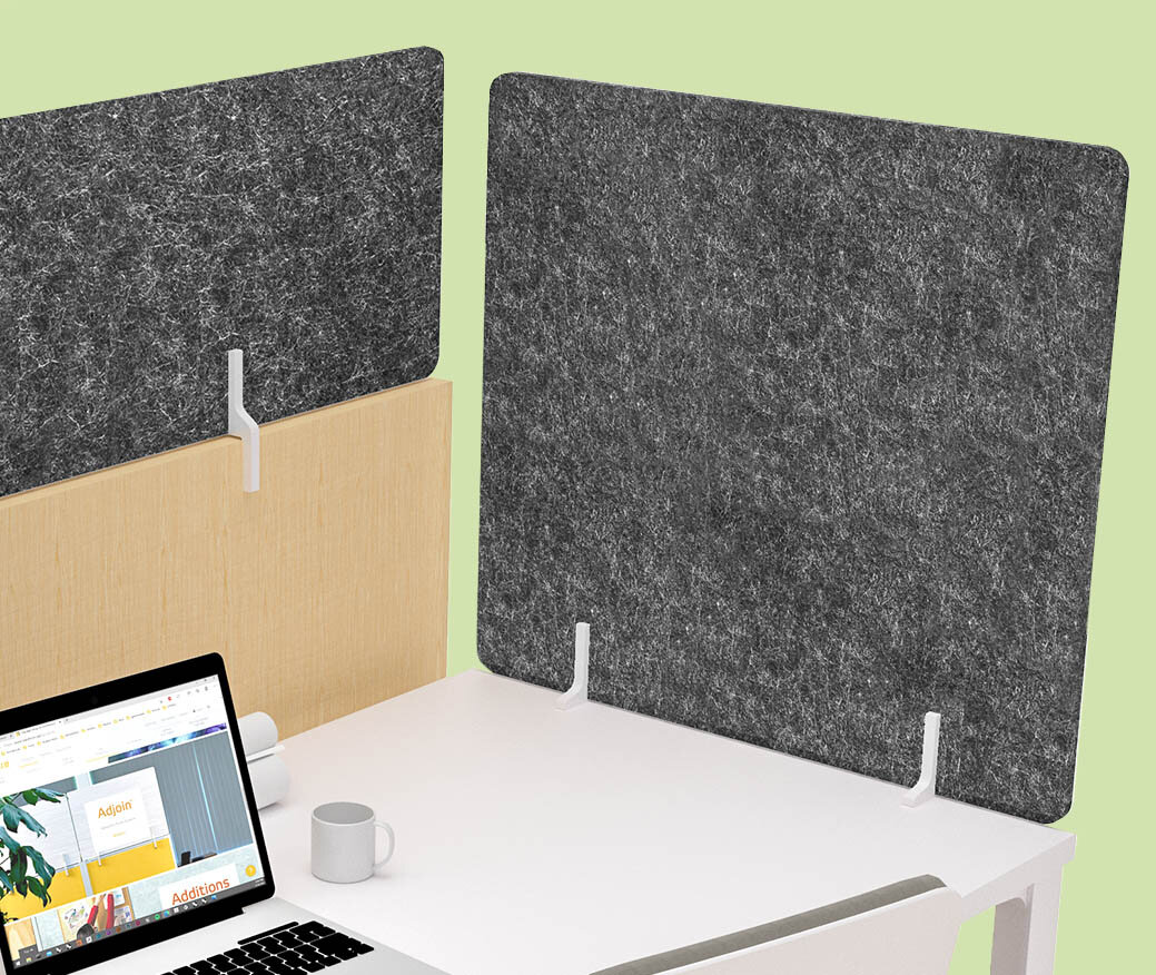 """Oomph Acoustic Workstation panel with """"urban"""" colored felt"""