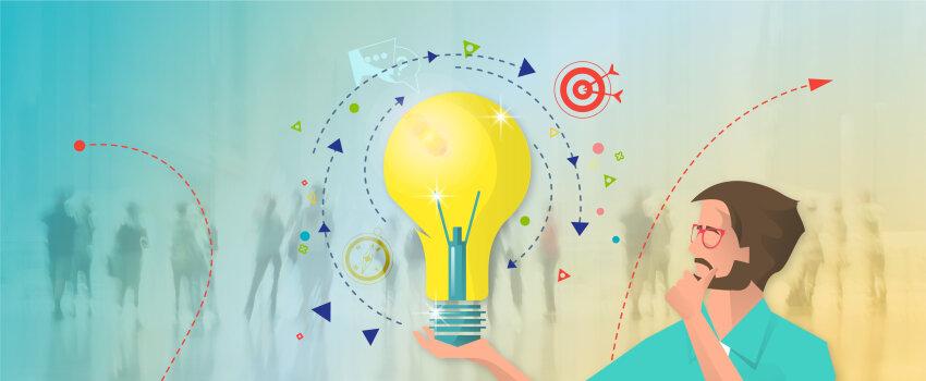 Person holding a big idea