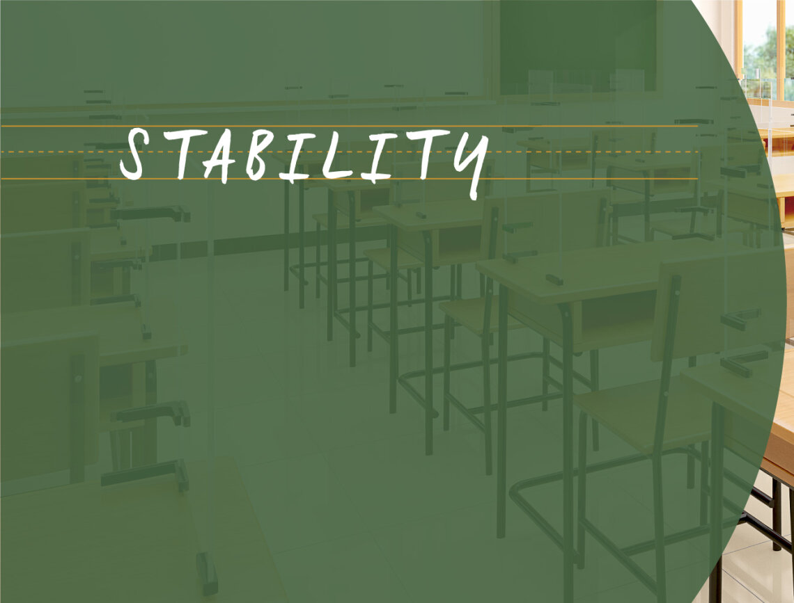 Green chalkboard color with the word Stability written in white