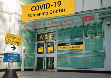 Hospital's designated entrance COVID-19 screening identified with Takeform's Respond Rapid Deployment Signage System including panel and post sign, banner, window film, and signage