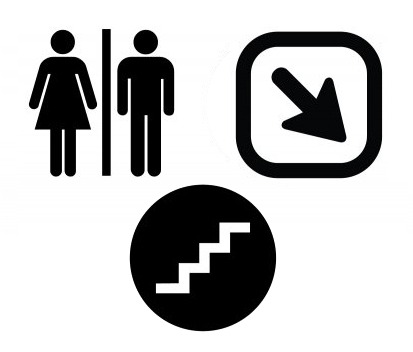 Three pictogram samples including restroom, a downward arrow, and stairs.