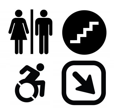 Four pictogram samples including restroom, stairs, wheelchair accessible and a downward arrow.