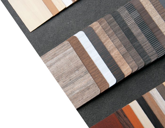 Close-up of high pressure laminate swatches