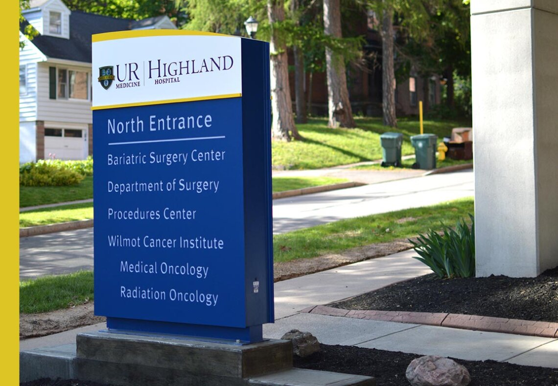 Exterior Sign at Hospital in residential area