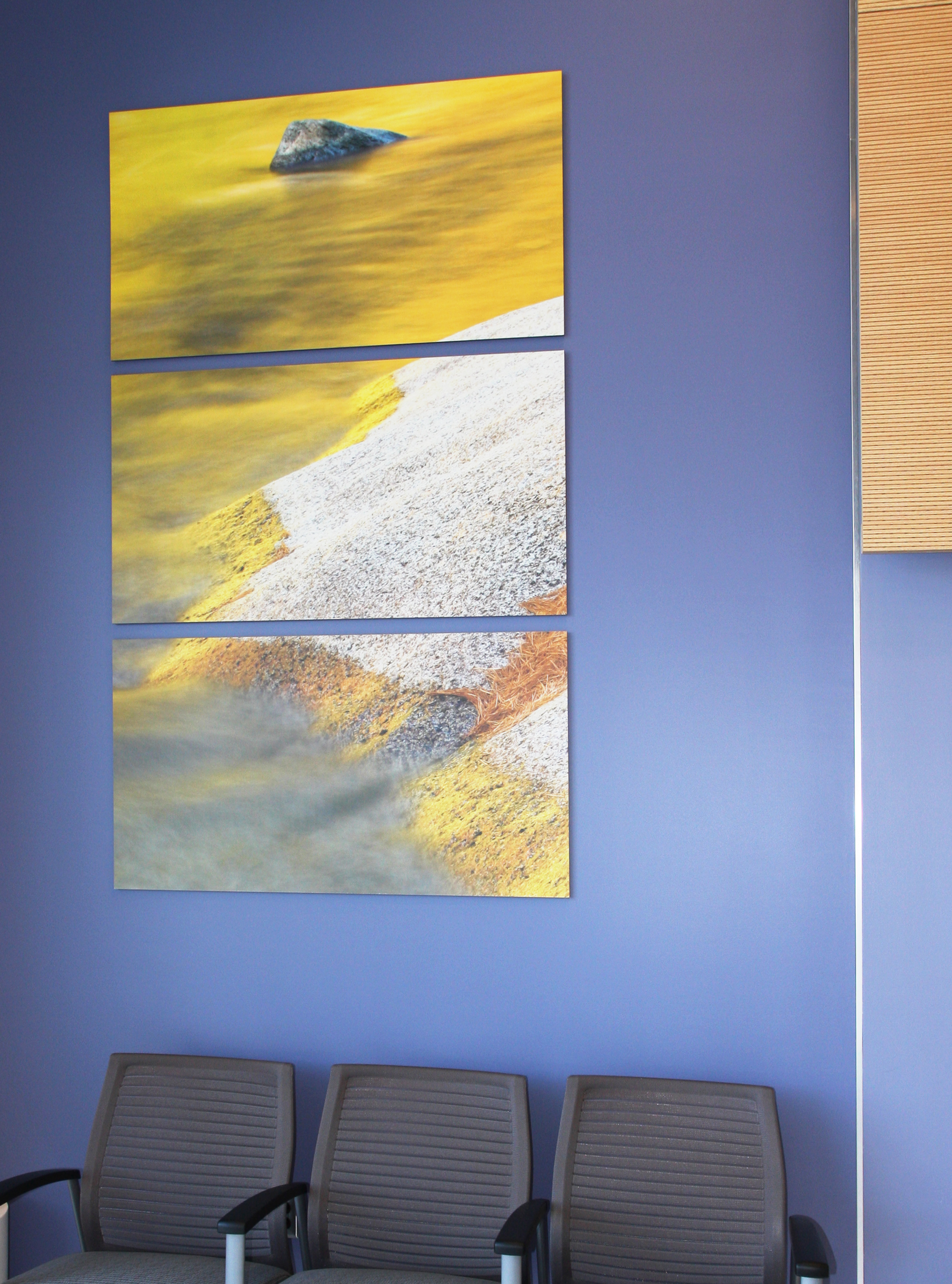Photo of abstract landscape image using Moxie panels in waiting area of hospital