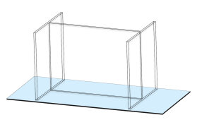 Four-Seat, Linear Tabletop Screen by Takeform