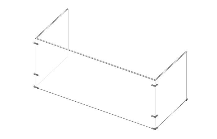 Three-sided protective desktop shield