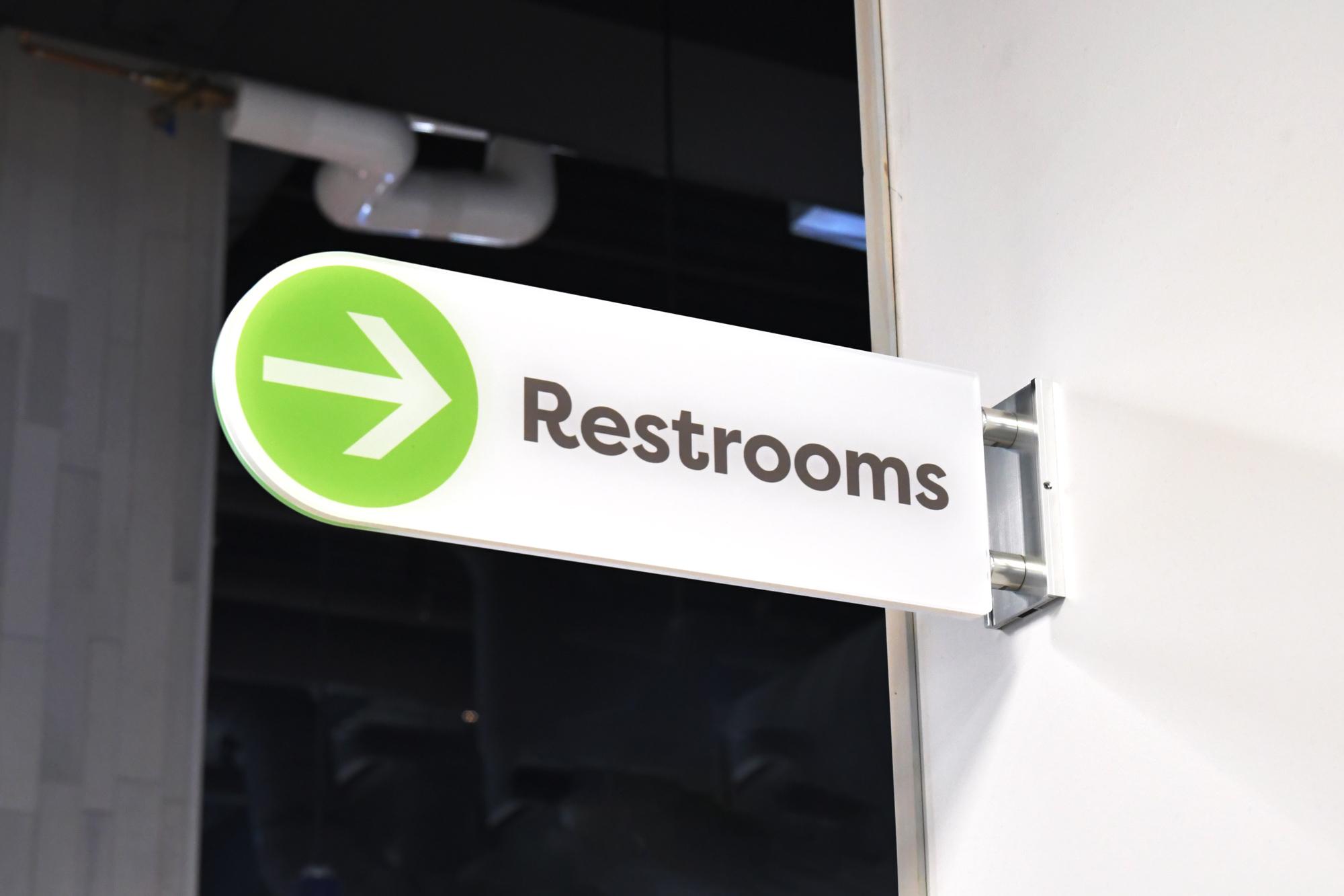 Restroom sign using Vivid signage
