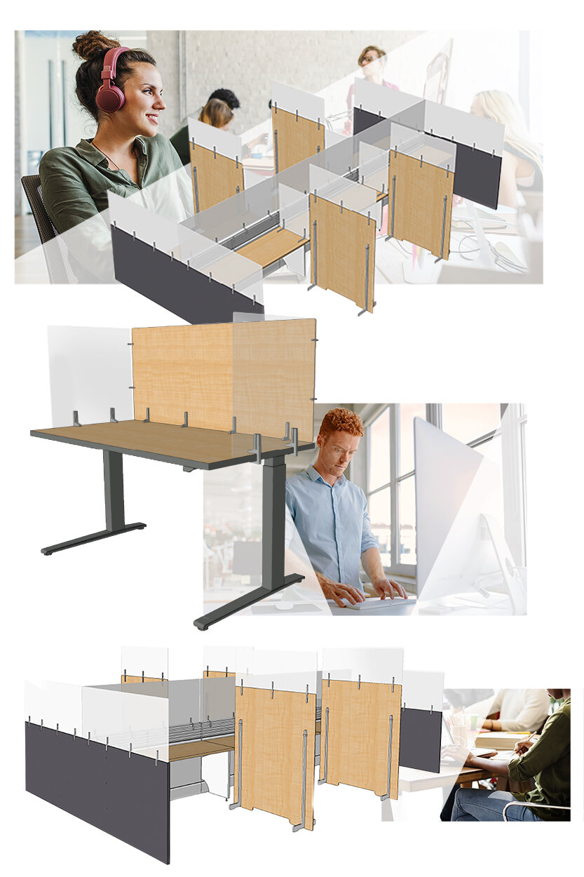 Adaptive Panels in office spaces with employees at desks working