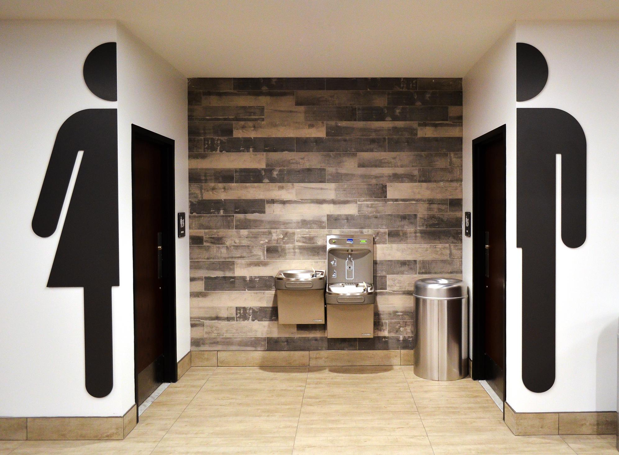 Moxie restroom graphics at YMCA