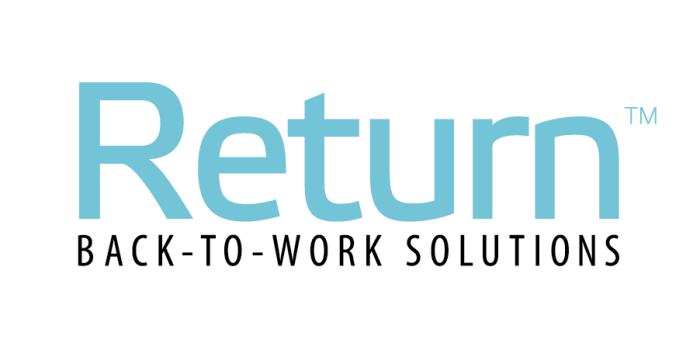 Return back-to-work solutions: planning services, logo - partitions, readiness stations, and signage