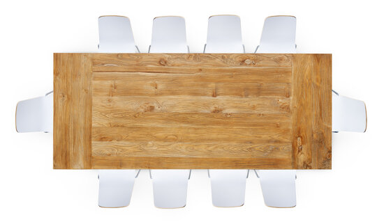 Overhead view of rectangular reclaimed-wood conference room table surrounded by ten modern white chairs