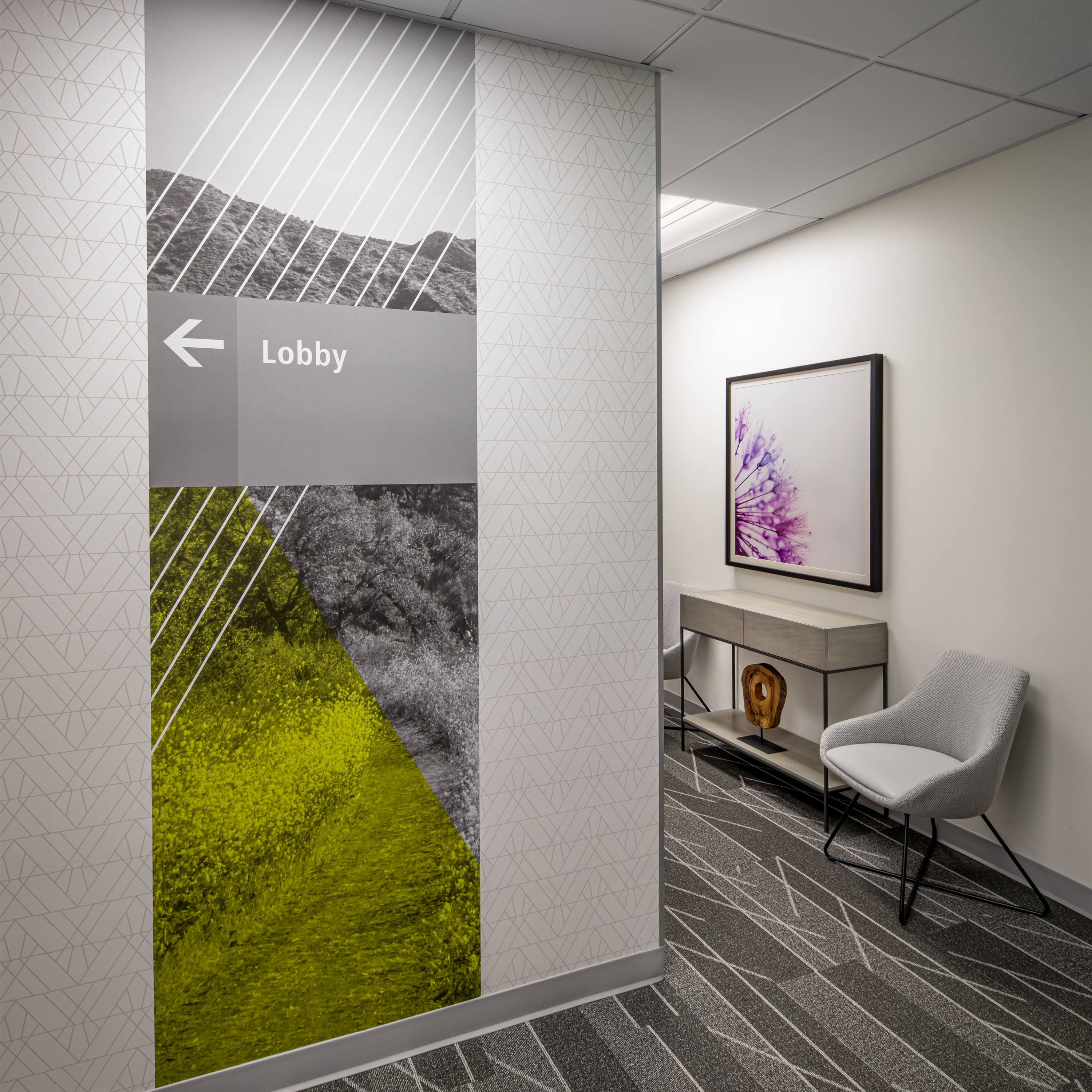 Photo of Amplify wall covering in hallway at health center
