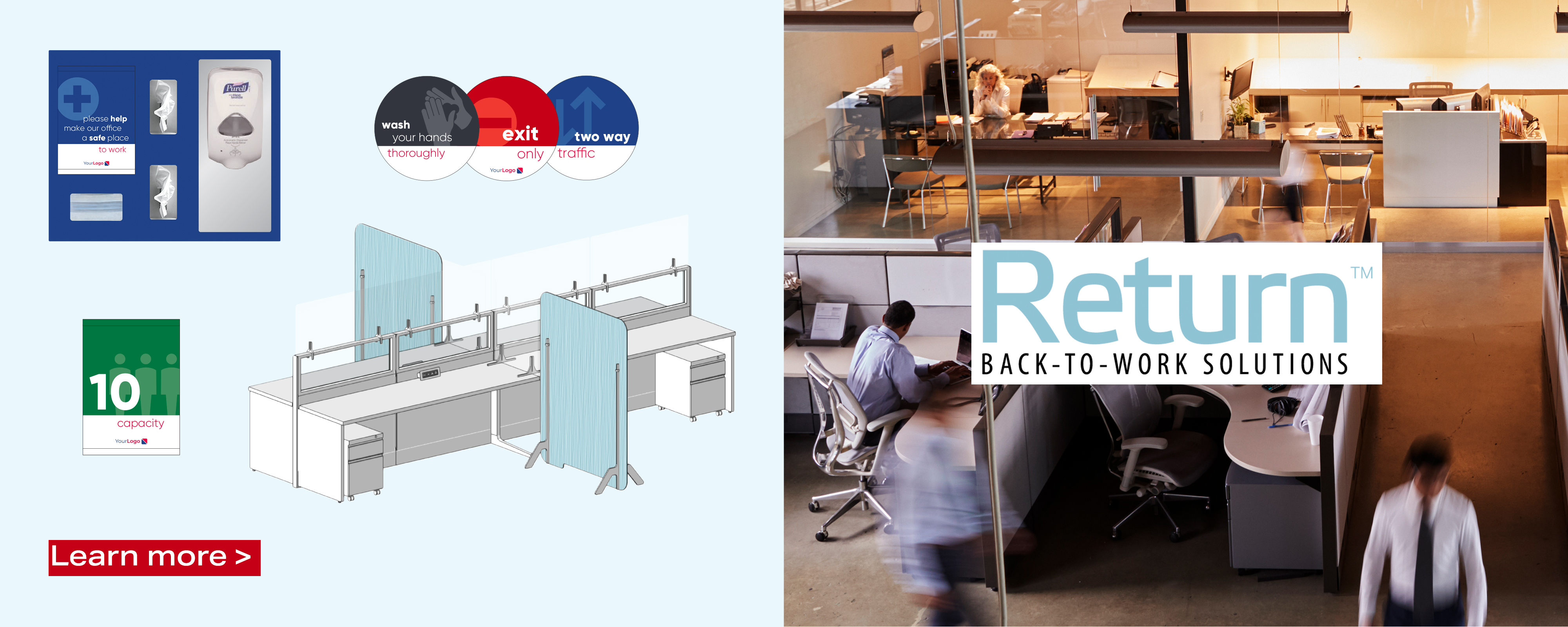 This Return services and product home page image displays the creative options that help to get people back to work.
