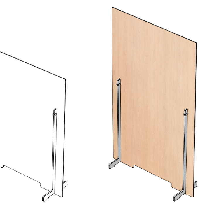 Drawing of Maple finished freestanding desktop partition