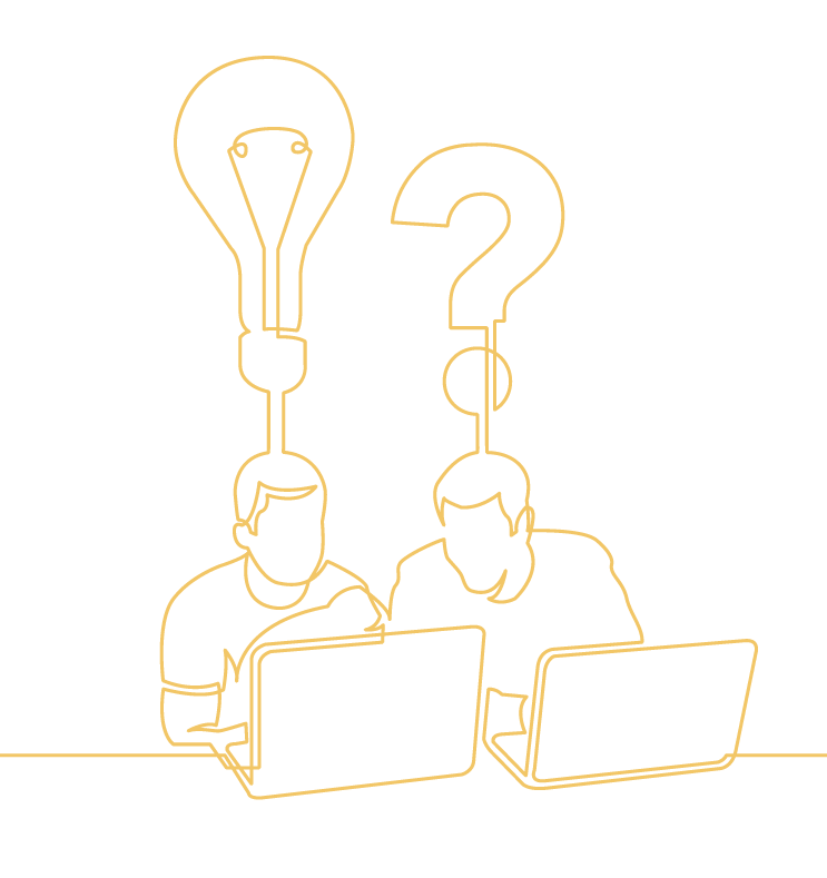 Two coworkers sit together behind laptop bouncing questions back and forth