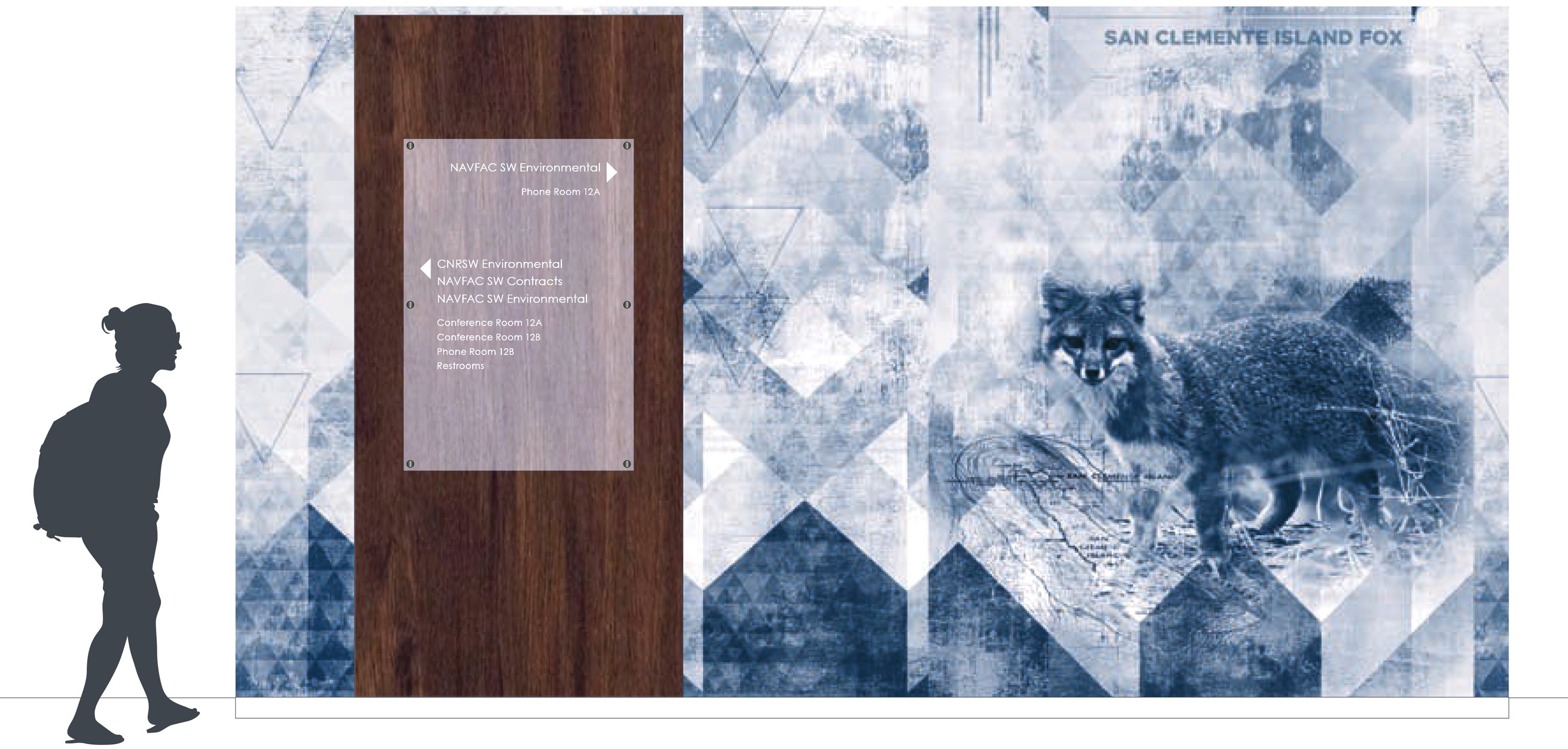 Amplify wall covering rendering of San Clemente Island Fox