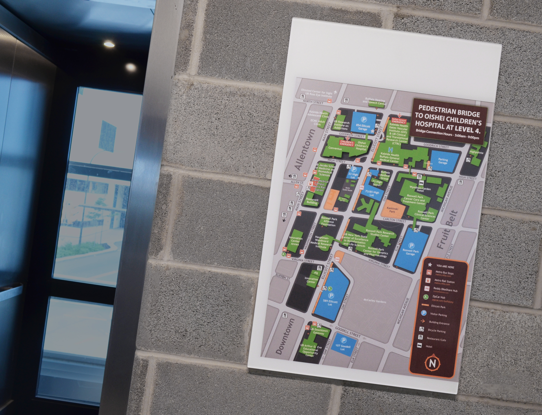 Photo of wayfinding map next to elevator